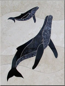 Whale Tile Mural by Makena Tile Murals