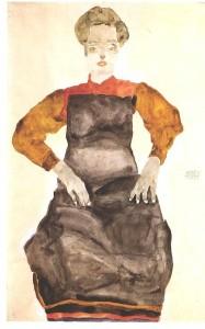 Schiele_-_Sitzendes_Mädchen_mit_schwarzer_Schürze_-_1911